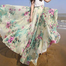 Women Fashion Summer Beach Casual Floral Boho Long Maxi Dress Pleated Skirt UK