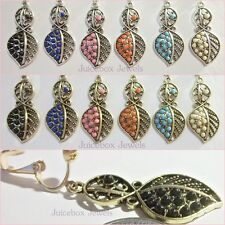 "CLIP ON 1.5"" Leaf Leaves beaded Antiqued BOHO Dangle Non-Pierced Trendy Earrings"