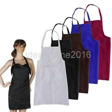 Adjustable Plain Apron w/ Front Pocket Butcher Waiter Chef Kitchen Cooking Bid