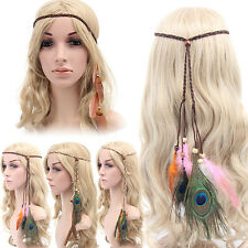 Women Peacock Feather Headband Hippie Weave Hairband Hair Accessory Trusted