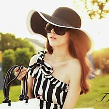 Fashion Women Ladies Wide Brim Beach Sun Hat Summer Straw Floppy Fold Boho Cap