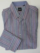 NWT $165 Hugo Boss Shirt Regular Fit Striped Mens Large Long Sleeve LS NEW