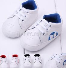 Baby Infant Crib Trainers Football Sneakers Soft Pram Prewalker Shoes Size 3-12M