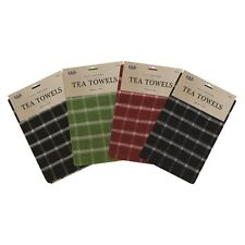 TERRY KITCHEN TEA TOWELS 100% COTTON DISH CLOTHS LARGE CLEANING CHECK STRIPE