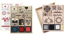 Martha Stewart Rubber Stamp and Ink Pad Set Wooden Box SELECT YOUR DESIGN!