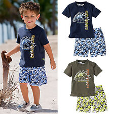 Kids Baby Boy Dinosaur T-shirt Tops + Short Pant Beach Outfits Clothing Set 1-6Y