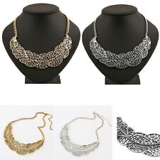 Sexy Girl Hollow out Leaf Necklace Pendant Metal Chain Statement Necklace Trendy