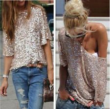 Sexy Women's Glistening Gold Sequins Sparkle Top T-Shirt Blouse Tee Plus Size