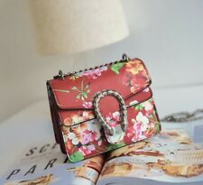 Flower Print Flap Bag Black Red Pink Green Chain Handbag