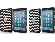 Wave Back Case Skin Protective Cover for iPad Mini 1 2 3 Rose Red / Blue