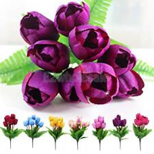 Artificial Fake Floral 9-head Silk Tulip Flower Home DIY Garden Table Room Decor