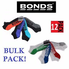 12 x MENS BONDS LOW CUT BLACK SPORTS ANKLE BLACK WHITE RUNNING CUSHIONED SOCKS