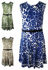 New Girls Leopard Print Skater Dress with Belt Retro Summer Age Size 7-13 Years