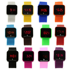 Colorful Unisex LED Digital Touch Screen Silicone Wrist Watch Black PK
