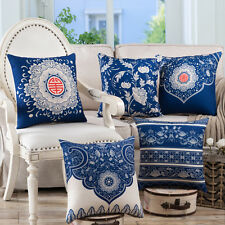 "Retro Oriental Style Decorative Cotton Cushion Covers Pillow Cases Blue 18""X18"""