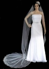 Beaded Cathedal Length Wedding Veil with Gorgeous Silver Floral Embroidery