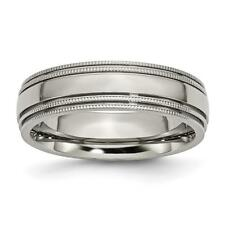 Chisel Titanium Grooved and Beaded Edge 6mm Polished Band Ring TB134