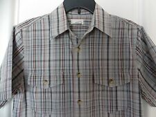 Dockers Mens Plaid Button Front Short Sleeve Shirt - Medium-Gray-Excellent Cond