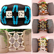 Ney Easy Magic Wood Beads Double Hair Comb Clip Stretchy Women Hair Accessories