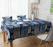 Simple Blue Sunflower Dinning Coffee Table Cotton Linen Cloth Covering L