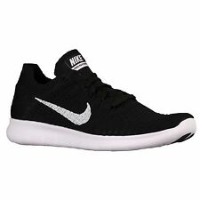 NIKE FREE RN FLYKNIT 2016 BLACK WHITE MENS RUNNING SHOES **ALL SIZES