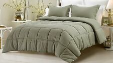 NEW Sage Comforter Set 3 Piece Reversible Solid/Emboss Striped