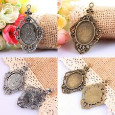 5Pc Vintage Bronze/Tibetan Silver Oval Picture Photo Frame Charms Pendant Beads