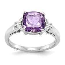 Sterling Silver Rhodium Plated Diamond and Amethyst Square Ring  QR4641AM