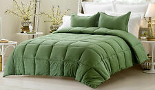 NEW Dark Green Comforter Set - 3 Pc Reversible Solid/Emboss Striped