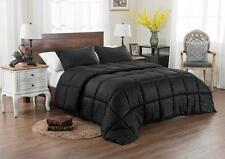 NEW Black Comforter Set - 3 Piece Reversible Solid / Emboss Striped