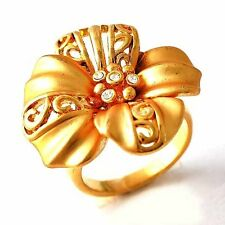 Stylish Clear Zircon Yellow Gold Filled Womens Flower Love Ring Size 7,8,9