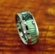 Handmade Unisex Wedding Band Sizes 6-12 Tungsten Carbide Ring w/ Abalone Inlay