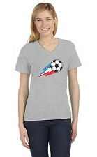 USA Team Soccer Ball American Flag V-Neck Women T-Shirt Gift Idea