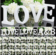 1X Wooden Wood Letter Alphabet White Word Free Standing Wedding Party Decoration
