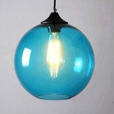 Modern Blue Golbe Vintage Retro Glass Ceiling Pendant Light LED Industrial Lamp