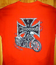 Skeleton Chopper Biker T Shirt Orange Sz Sm - 5XL Bright Motorcycle Design Tee