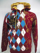 New CHRISTIAN AUDIGIER ED HARDY MENS PLATINUM ARGYLE & CHAINS HOODIE SHIRT NWT
