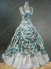 Southern Belle Ball Gown Victorian Floral Dress Reenactor Halloween Costume 081