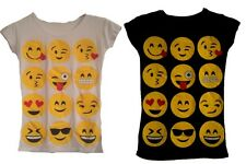 GIRLS BOYS KIDS EMOJI FACES SMILEY SHORT SLEEVE T-SHIRT AGE 7 - 13 YEARS NEW