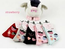 5Pairs Women's Cartoon Socks Cotton Solid Color Socks For Autumn Winter