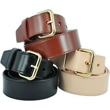 Brand New Brass Buckle Genuine Leather Ladies 4cm Wide Belt RRP $79.99