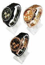 AN London Crystal Stone Decorated Bezel & Metal Strap Ladies Fashion Watch-AN385