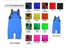 YOUTH TANK WRESTLING SINGLET - TWO COLOR SOLIDS WITH LIGHTNING