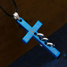 Lovers Jewelry Men Titanium steel Bible Cross Pendant Necklace Leather Rope