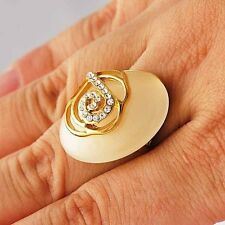 Fashion Charming Oval Opal Zirconia Womens Ring Yellow Gold Ring Size 7 9