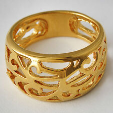 Womens Mens Yellow Gold Filled Carve Flower Band Ring Size 8 9 10