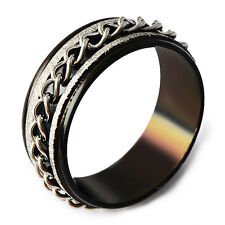 Black Stainless Steel Filled Band Chain Spinner Band Ring Size 7-11