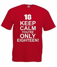 Funny Mens Keep Calm 18th Birthday Present Gift T-Shirt Eighteen Joke Tee Top