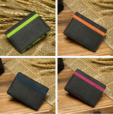 STUNNING HOLDER FAUX LEATHER CREDIT CARD MAGIC ID SLIM MONEY CLIP MENS WALLET