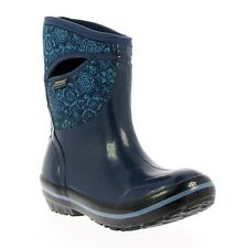 Bogs Women's Plimsoll Quilted Floral Mid Indigo Boots 71543-401